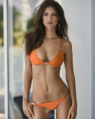 swimwear emily ratajkowski orange model bikini bikini bottoms