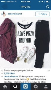 top,t-shirt,grunge,pizza,jacket,coat,red jacket,casual,white t-shirt,white top,fashion,clothes,crop tops,pizza shirt,quote on it,funny quote shirt,love quotes,pizza funny,shirt