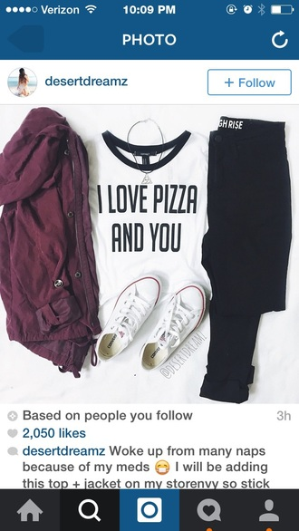 top t-shirt grunge pizza jacket coat red jacket casual white t-shirt white top fashion clothes crop tops pizza shirt quote on it funny quote shirt love quotes pizza funny shirt