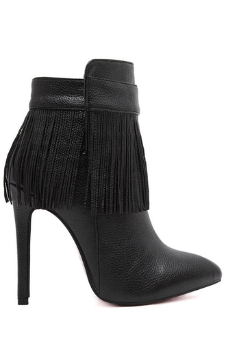 shoes fringes boots heels black sexy fall outfits boho footwear leather high heels casual fashion style faux leather