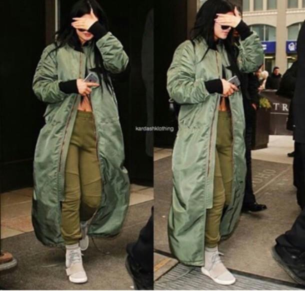 jacket oversized long coat green jacket kylie jenner