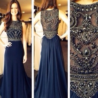dress prom navy embroidered dress