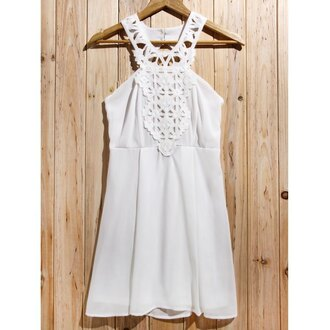dress white fashion style trendy summer spring cute girly rose wholesale-ap