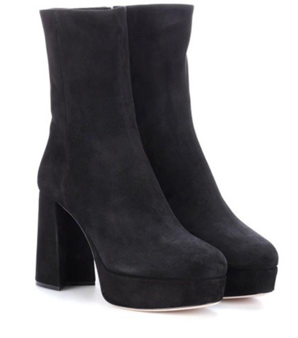 Miu Miu Suede plateau ankle boots in black