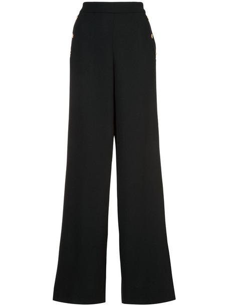 Edward Achour Paris - wide leg trousers - women - Wool - 44, Black, Wool