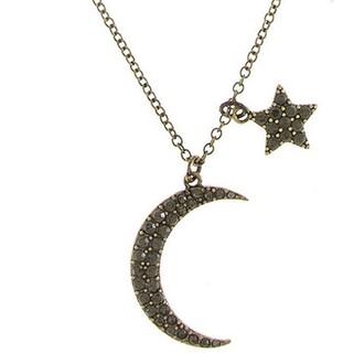 jewels jewel cult black crystal necklace necklace moon stars crescent crescent moon crescent moon necklace moon and stars moon and star necklace jewelry crystal moon necklace