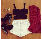tank top,shorts,denim shorts,black  high heels,jewelry,checked shirt,shoes,shirt,t-shirt,blouse,bustier,tumblr clothes,black,cut-out,top,cardigan,criss cross,nieten,hemd,high heels,outfit,swimwear