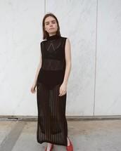 dress,double3xposure,maxi dress,black dress,crochet,crochet dress,sleeveless,sleeveless dress,turtleneck,underwear,black underwear