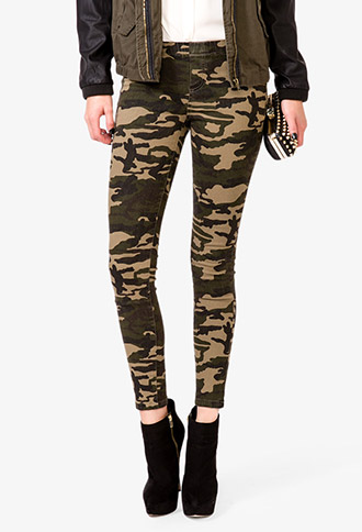 Stretchy Camo Pants | FOREVER21 - 2047161527