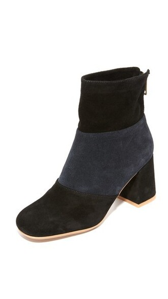 patchwork booties navy black shoes