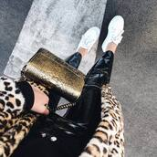 pants,tumblr,black bag,black pants,vinyl,leather,leather pants,sneakers,white sneakers,gold bag,coat,leopard print,metallic bag,black vinyl pants