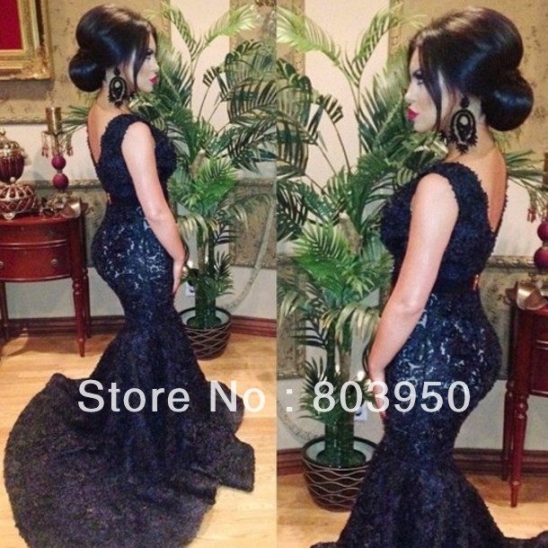 Sexy Vestidos De Fiesta V Neck Deep Navy Blue Lace Long Formal Evening Dress Mermaid Slim Hip Sexy Prom Dress 2014 Party Dress-in Evening Dresses from Apparel & Accessories on Aliexpress.com
