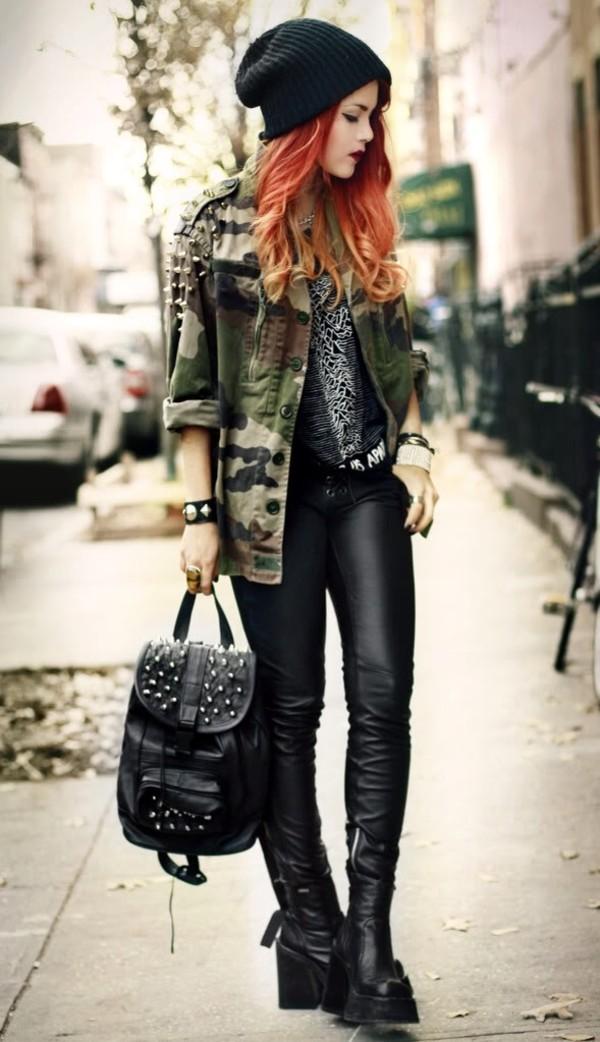 bag le happy backpack black vintage coat jeans