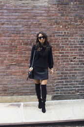 sweater,tumblr,black sweater,knit,knitwear,knitted sweater,skirt,mini skirt,black skirt,leather skirt,boots,black boots,over the knee boots,over the knee,all black everything