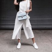 jumpsuit,tumblr,cropped jumpsuit,white jumpsuit,sneakers,white sneakers,faux fur velcro strap white sneakers,blue bag,chain bag,spring outfits,sleeveless