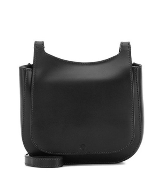 The Row Hunting 7 Leather Shoulder Bag in black