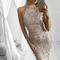 Elegant sequin tassel maxi mermaid dress