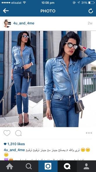 blouse jeans blue jeans