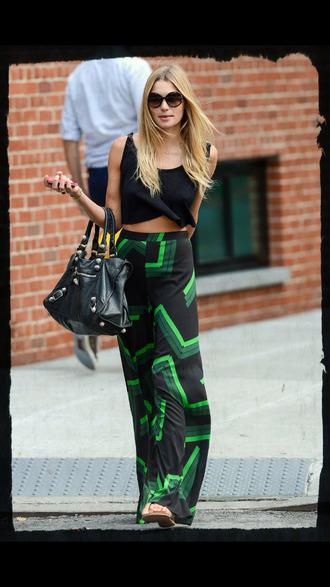 skirt high waisted skirt maxi skirt black green crop tops chevron zig zag tank top