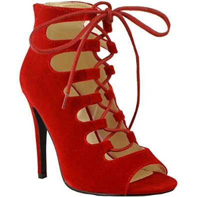 860a01f75696a Amazon.com: Fashion Thirsty Womens High Heels Stilettos Lace Up Gladiator  Ankle Sandals Peep Toe Size: Shoes
