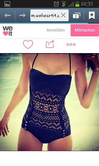 swimwear black lace bikini one piece swimsuit summer cute girly