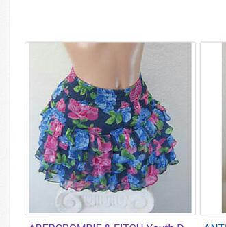 skirt blue pink green floral floral skirt