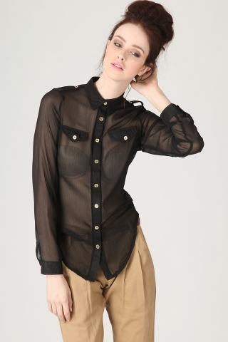 Sheer Button Up Blouse In Black - Blouses - Missguided