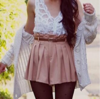 shirt shorts hearts tights high waisted cardigan lace blouse