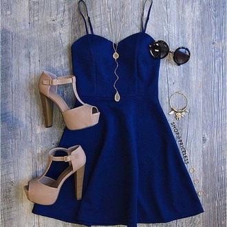 dress royal blue royal blue dress nude high heels blue dress beautiful blue kleid shoes high heels pumps mini dress dark blue dark blue dress beige tan party dress