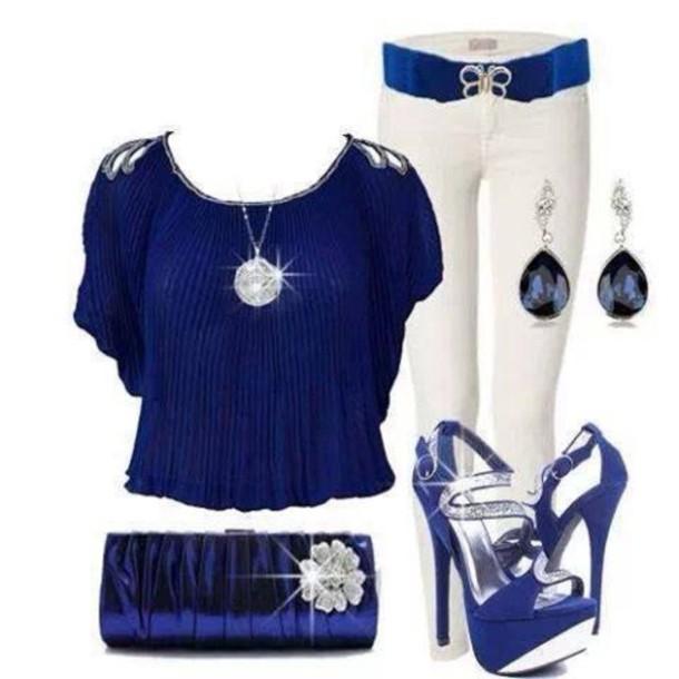 shoes blouse jewels pants