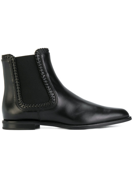 TOD'S women classic chelsea boots leather black shoes