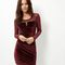 Blue vanilla dark red velvet mesh panel bodycon dress