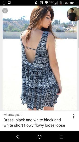 dress loose dress backless dress short dress black and white summer dress