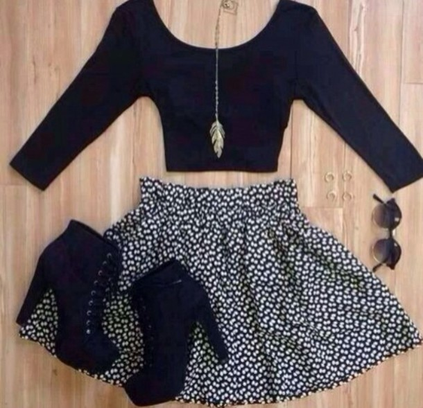 shirt skirt heels black crop top sunglasses necklace shoes jewels