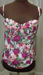 Topshop floral print cotton boned bustier corset