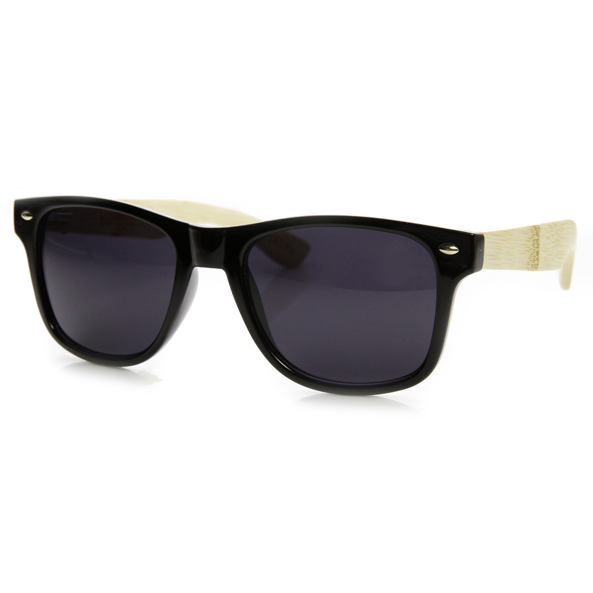 Eco Friendly Large Genuine Bamboo Wood Temple Wayfarer Sunglasses 9304
