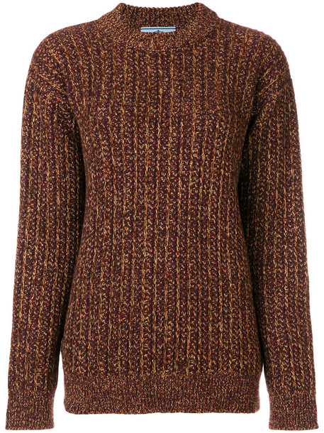 Prada sweater oversized sweater oversized metallic women wool brown