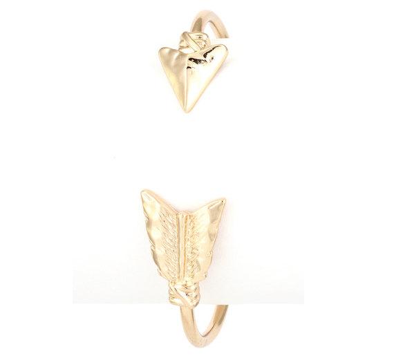 Gold arrow cuff bracelet boho chic spring summer by regalrunway