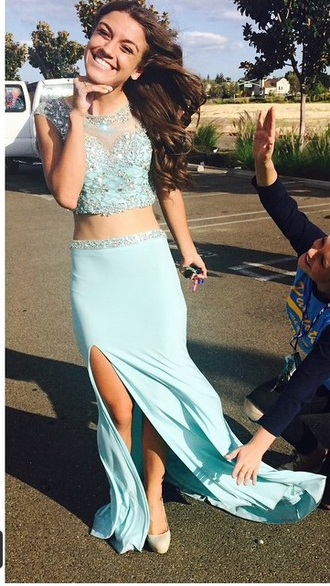 prom dress cropped dress crop bedazzled glitter blue dress jewels rhinestones glitter dress