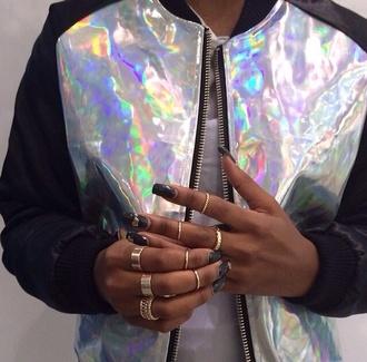 jacket metallic rainbow bomber jacket holographic coat iridescent soft ghetto