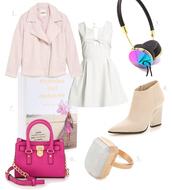 my blonde gal,blogger,pink jacket,thick heel,white dress,headphones,ring,pink bag,earphones,jeans,spring jacket