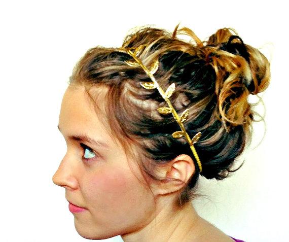Gold leaf headband fabric leaf grecian headband by littleblueolive