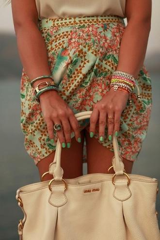skirt bag bright white bag colorful girl brown elegant nails miu miu bracelets turquoise