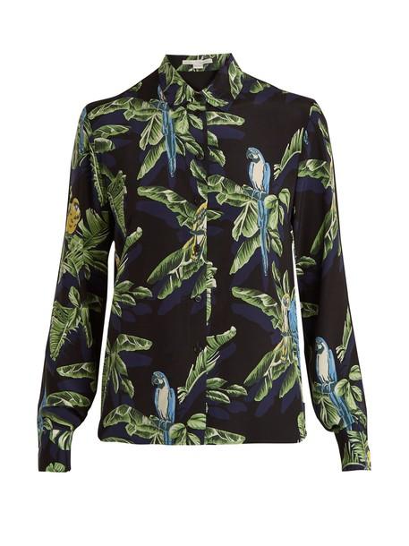 Stella McCartney shirt print silk black top