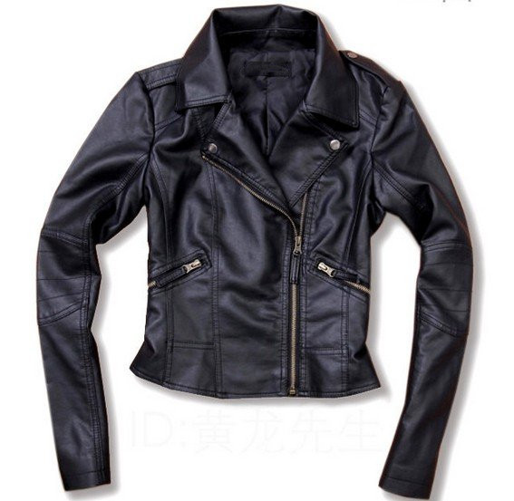 Black pu leather slim jacket