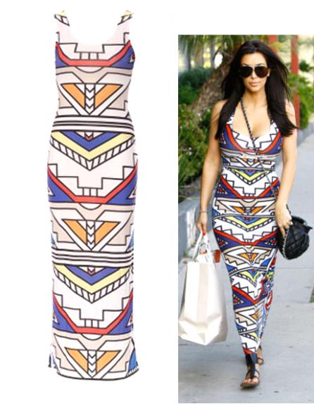Kim kardashian aztec print maxi dress