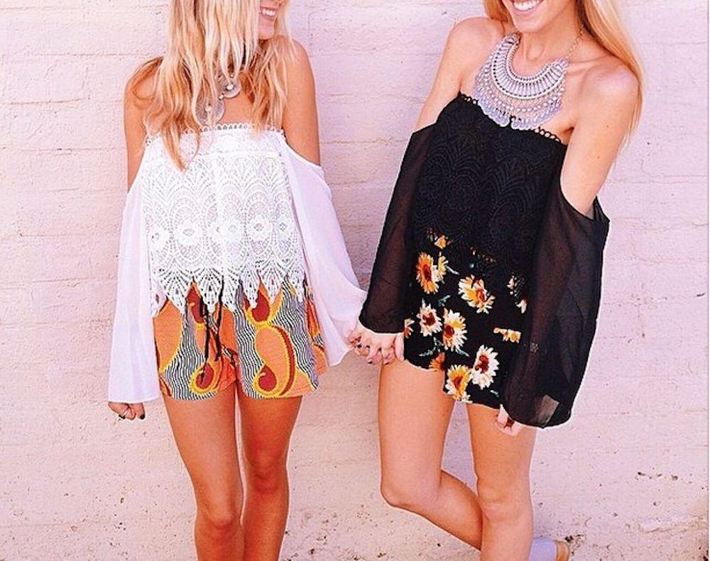 M Ethnic Vintage Bohemian Floral Cut Out Crochet Off Shoulder Black BOHO Blouse