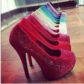 shoes,high heels,heels,stilettos,diamonte,crystal,sparkly heels,high,party,colorful,red,pink,blue,girl,cute,pumps,glitter,colored,all colours,sparkle,diamonds,glamour,dressy,rainbow,bag