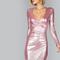 Metallic pink ruched surplice wrap asymmetric dress -shein(sheinside)