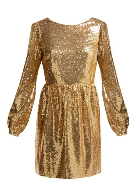 Saloni - Camille Sequinned Mini Dress - Womens - Gold